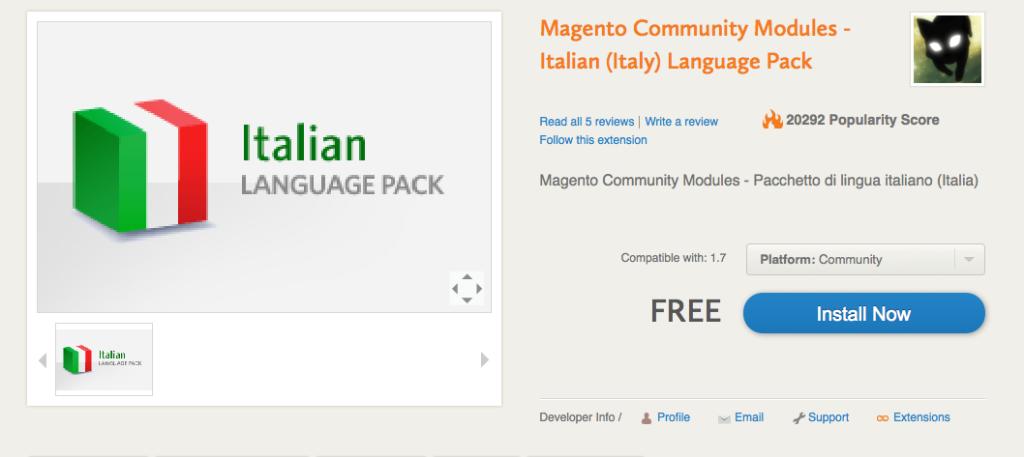 Magento Connect - Pagina della lingua italiana